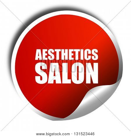 aesthetics salon, 3D rendering, a red shiny sticker