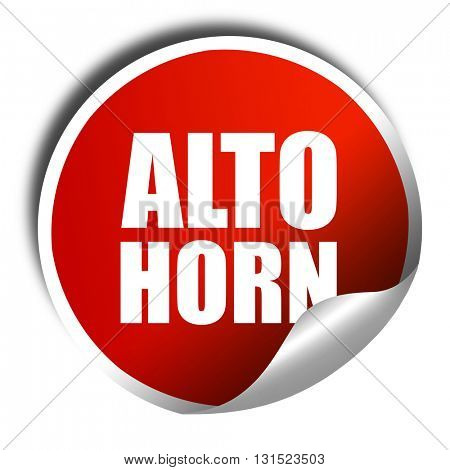 alto horn, 3D rendering, a red shiny sticker
