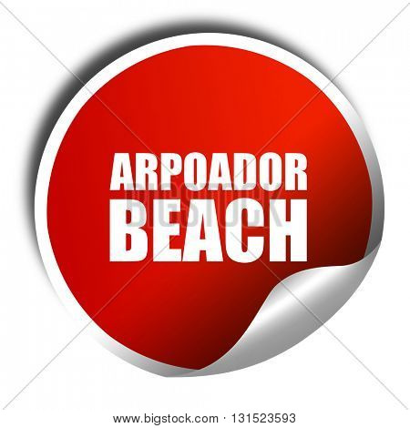 arpoador beach, 3D rendering, a red shiny sticker