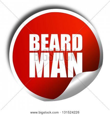 beard man, 3D rendering, a red shiny sticker