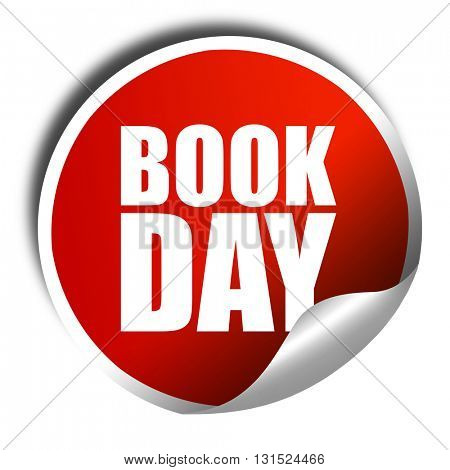 book day, 3D rendering, a red shiny sticker