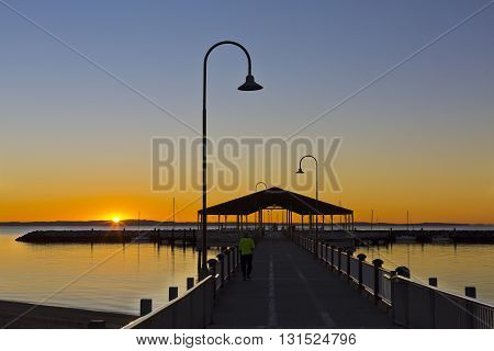 REDCLIFFE, AUSTRALIA - May 12, 2016: Stunning view of the Redcliffe Australia jetty at sunrise, on May 12, 2016 in Redcliffe, Australia
