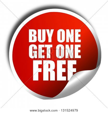 buy one get one free, 3D rendering, a red shiny sticker