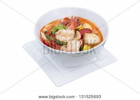 Tom Yum Kung Popular Cuisine Of Thailand, On White Background