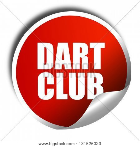 dart club, 3D rendering, a red shiny sticker