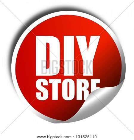 diy store, 3D rendering, a red shiny sticker