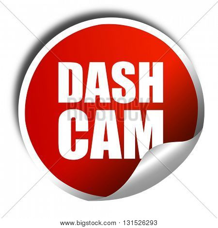 dashcam, 3D rendering, a red shiny sticker