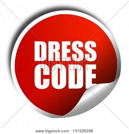 dress code, 3D rendering, a red shiny sticker
