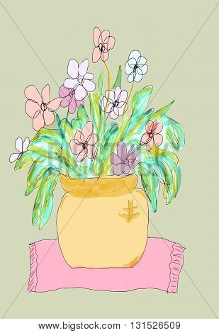 Drawing of a Flower Pot with pastel flowers.  The pot is gold and is on a pink cloth with a green background.