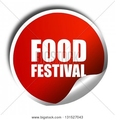 food festival, 3D rendering, a red shiny sticker