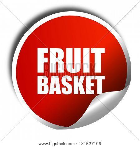 fruit basket, 3D rendering, a red shiny sticker