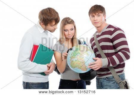 Tema educacional: grupo de alunos felizes isolados sobre fundo branco.