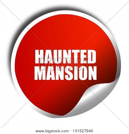 haunted mansion, 3D rendering, a red shiny sticker