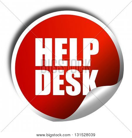Helpdesk, 3D rendering, a red shiny sticker
