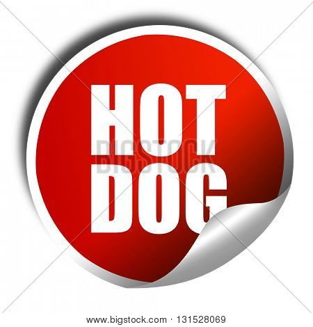 hotdog, 3D rendering, a red shiny sticker