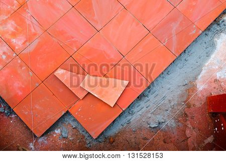 paving paths tiles in construction site, outdoor