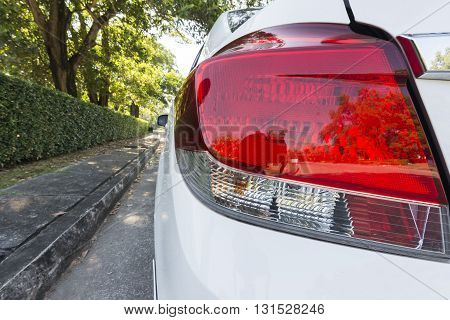 Close - Up Light Car On The Road