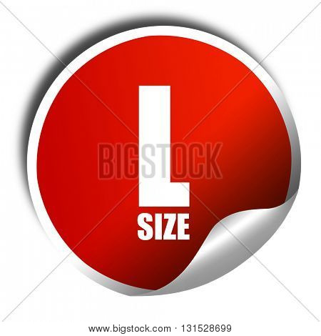 l size, 3D rendering, a red shiny sticker