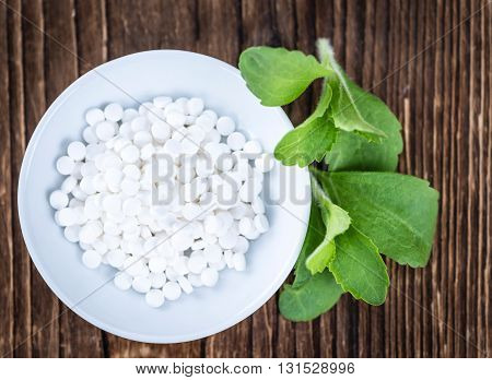 Stevia Sweetener On Wooden Background