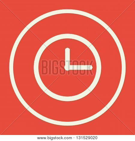 Clock Icon In Vector Format. Premium Quality Clock Symbol. Web Graphic Clock Sign On Red Background.