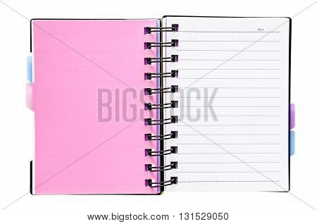 Open notebook with white lined pages isolated on white background Saved clipping path.