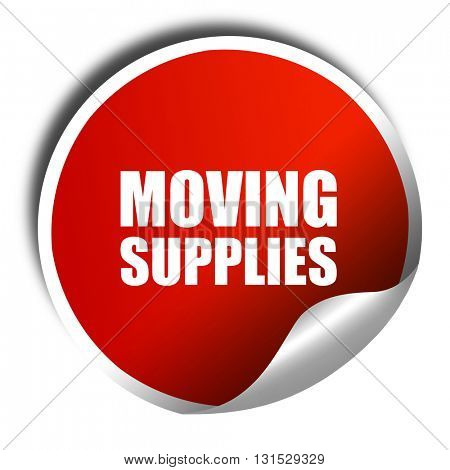 moving supplies, 3D rendering, a red shiny sticker