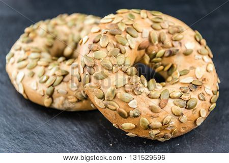 Wholemeal Bagels On A Slate Slab