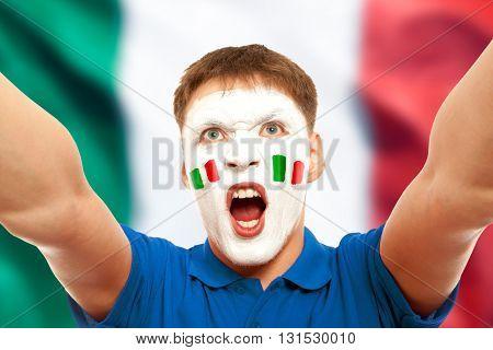 Italian fans at the stadium. Football, soccer fan