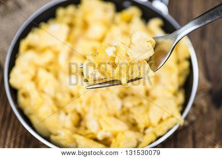 Scrambled Eggs In A Pan (selective Focus)