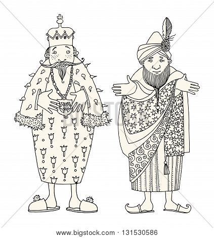 Two Kings on white background. Hand drawn illustration