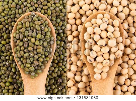 closeup grains on spoon background. food background
