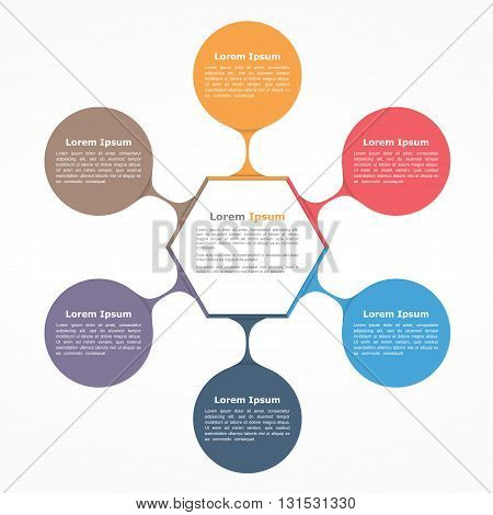 Circle diagram with six elements with text, flow chart template, business infographics, vector eps10 illustration