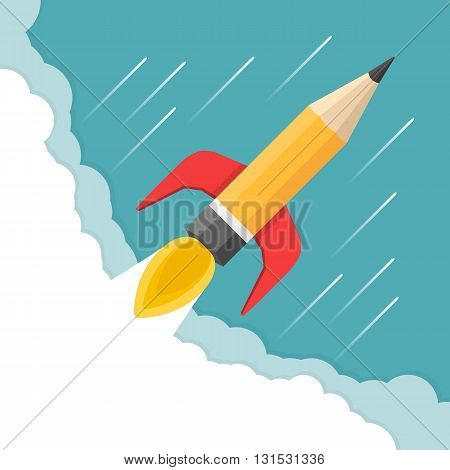 Pencil - rocket launch, business start-up, creativity concept, vector eps10 illustration