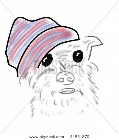 Vector. dog in a knitted hat on white background