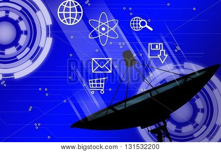 Satellite dish transmission data with background design