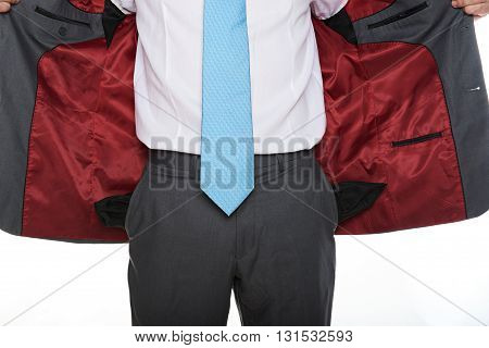 Open Jacket Of Business Man