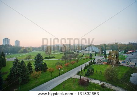 Aerial View From Cable Car Of Park At Upper Silesia, Katowice And Chorzow Attractions, Poland