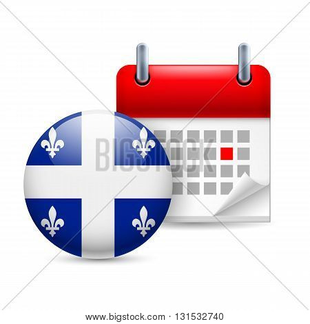Calendar and round flag icon. National holiday in Quebec