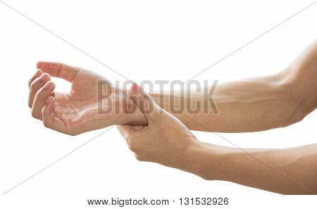hands with wrist pain isolated on white background.
