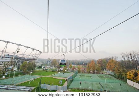 Aerial View From Cable Car Of Football Stadium And Tennis Court At Upper Silesia, Katowice And Chorz