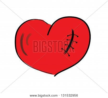 concept sewn heart, love. vector illustration on white background