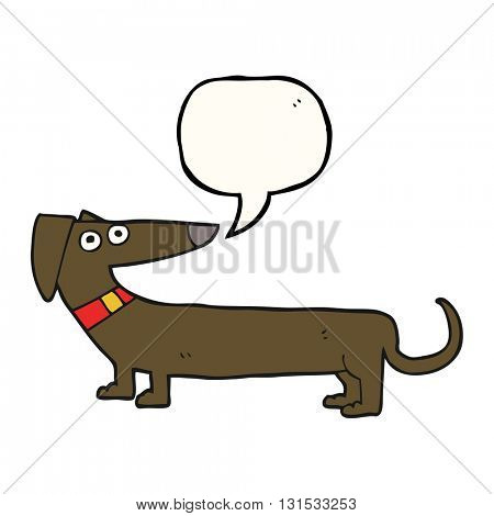 freehand drawn speech bubble cartoon sausage dog