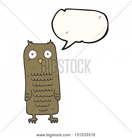 freehand drawn speech bubble cartoon owl