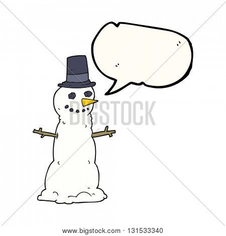freehand drawn speech bubble cartoon snowman in top hat