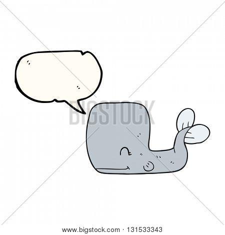 freehand drawn speech bubble cartoon happy whale
