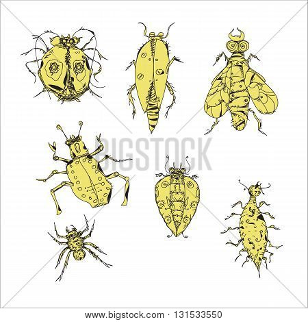 Set of various hand drawn insects isolated on white