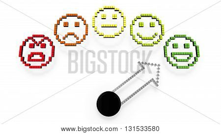 A gauge with five smileys from bad to excellent and arrow pointing at green face 3D illustration