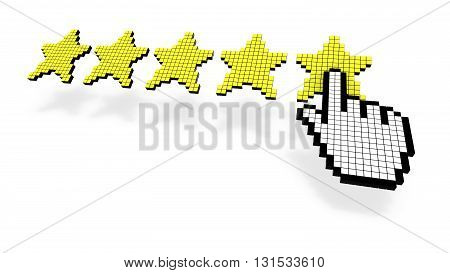 Pixel cursor pressing yellow fifth star of performance rating on white background 3D illustration