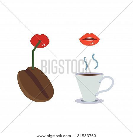 Vector of lady mouth drinking coffee on white background.