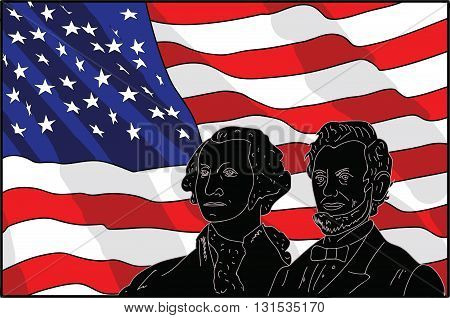 illustration of Presidents Day against the backdrop of the American flag